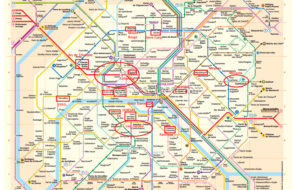paris metro haritası